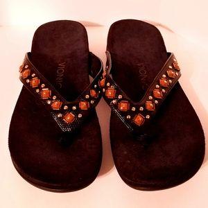 Vionic Ladies Embellished Flip Flops Black